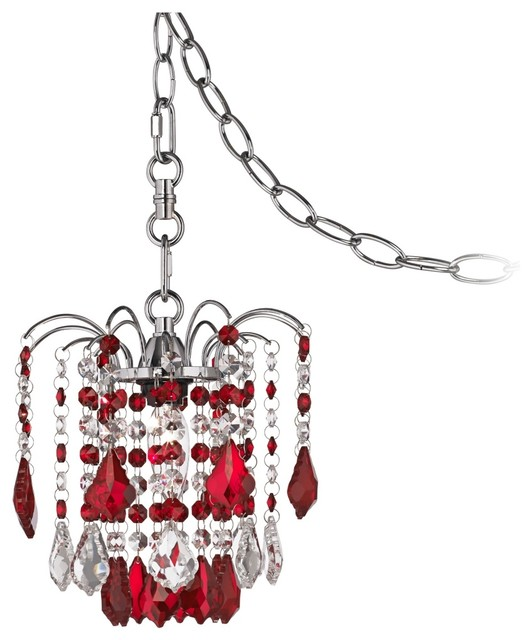 Crystal Nicolli Red Crystal Eight Wide Swag Plug In Mini Chandelier Contemporary Chandeliers