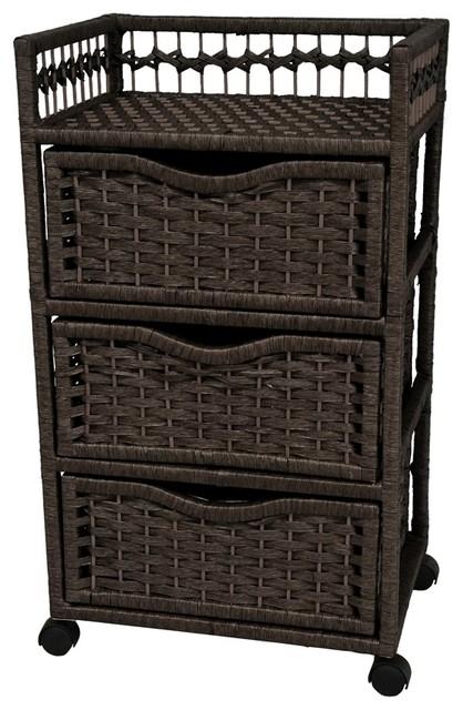 3 drawer natural fiber chest on wheels black - Bathroom storage on wheels ...