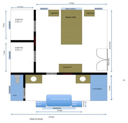 Anyone like their long narrow bathroom for Long narrow master bathroom layout