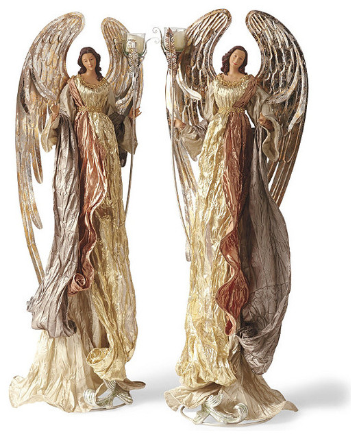 Mark roberts set of two towering angel candle holders for Roberts designs bathroom accessories