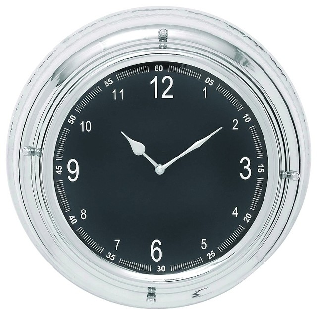 round wall clock white print black nickel plated frame