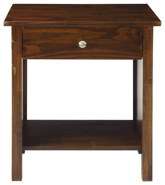 vanderbilt night stand end table with 4 usb ports warm brown transitional nightstands and. Black Bedroom Furniture Sets. Home Design Ideas
