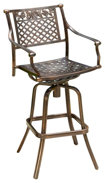 Sierra outdoor cast aluminum swivel bar stool modern for Barhocker outdoor