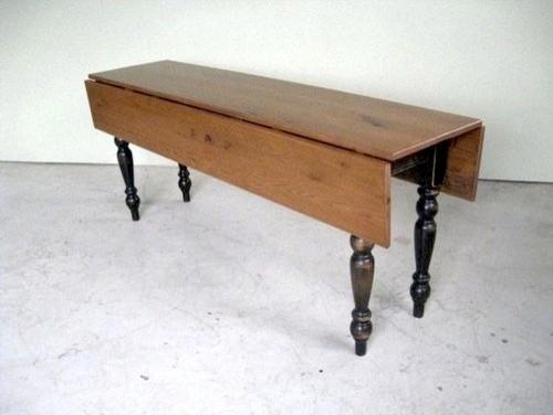 Old Oak Drop Leaf Table With Black Legs Farmhouse