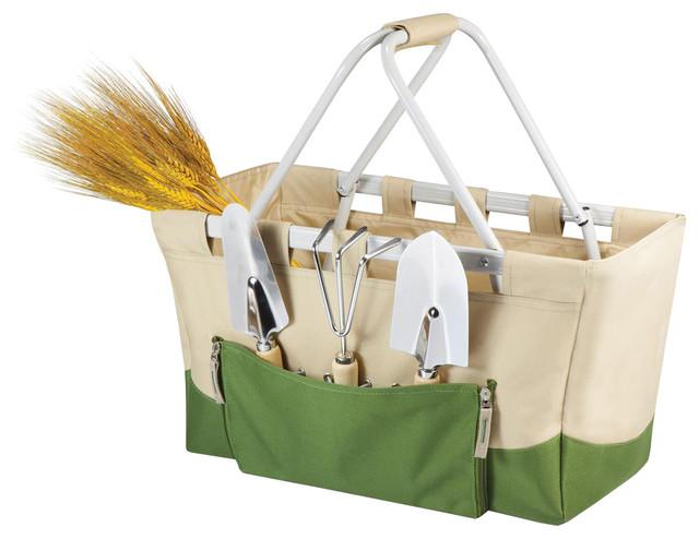 Garden Metro Basket Tan And Olive Green Modern