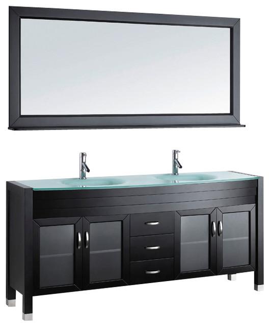 Ava 71quot double bathroom vanity cabinet set in espresso for Ava bathroom furniture