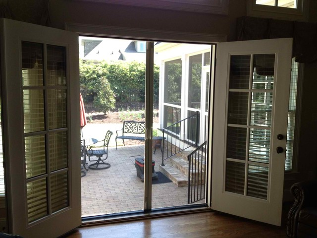 Double french doors for Can you put screens on french doors