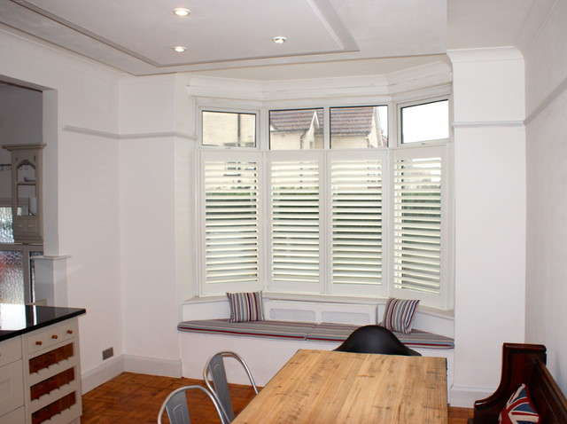 Kitchen bay window shutters with window seat bournemouth for Bay window seat cost uk
