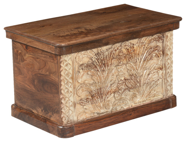 winter ferns solid acacia wood coffee table storage chest. Black Bedroom Furniture Sets. Home Design Ideas