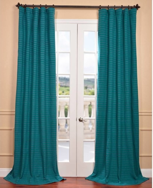 Teal Hand Woven Cotton Blend Curtain Panel Contemporary