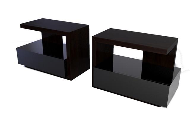 Black Modern Bedside Table: Tatami Nightstand, 1 Black Gloss Drawer