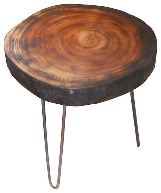Taburete mesita de madera de trembesi con patas de hierro - Taburetes rusticos ...