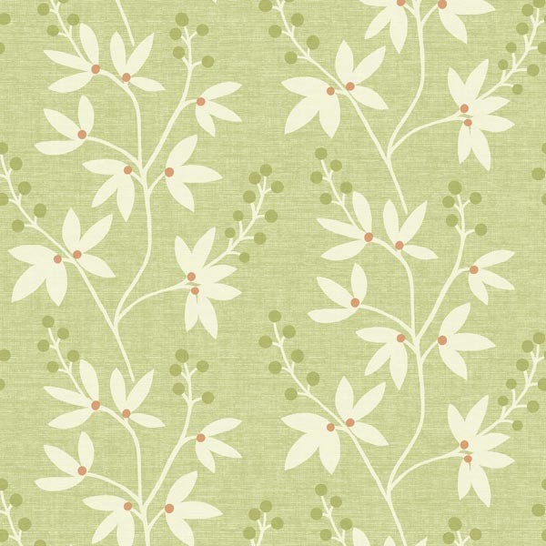 Currant Green Botanical Trail Wallpaper Swatch Contemporary Wallpaper