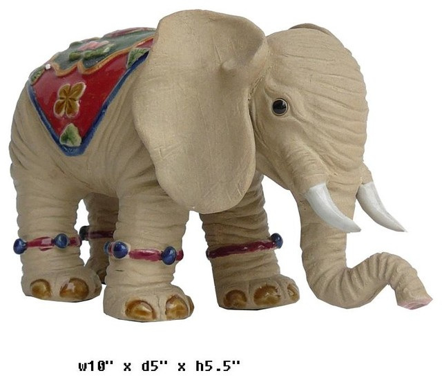 Small Elephant Decor: Oriental Ceramic Elephant Decor Figure