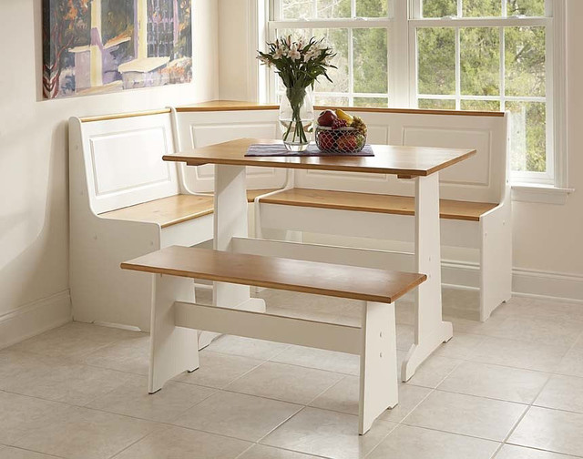 Corner nook set in white natural finish contemporary for Kitchen set natural