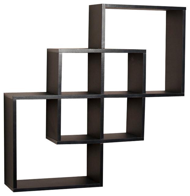 Contemporary Wall Shelves Decorative: Intersecting Squares Decorative Wall Shelf, Black