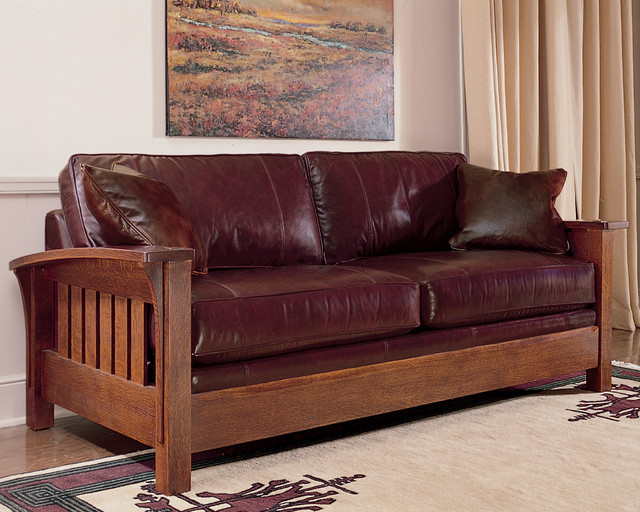 Arts And Crafts Style Leather Sofa Furniture Upholstery