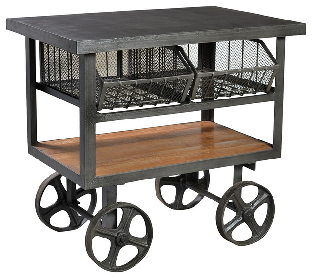 Go Home Black Industrial Kitchen Cart At Lowes Com: Industrial Iron Trolley Cart