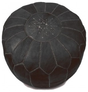 Moroccan Black Leather Pouf - Mediterranean - Floor Pillows And Poufs ...
