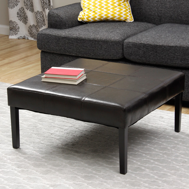 Square Faux Leather Coffee Table Ottoman Contemporary Coffee Tables By