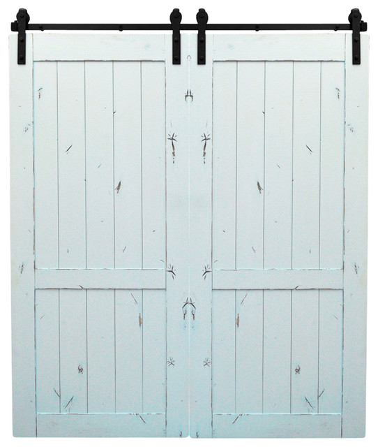 Dogberry Country Vintage Double Barn Doors, Dark Chocolate, Distressed Pale Blue - Farmhouse ...