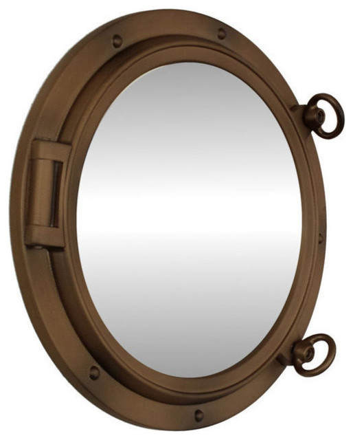 Porthole mirror bronzed 15 beach style wall mirrors for Porthole style mirror