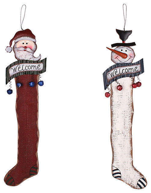Christmas decorations wood metal stocking hanging