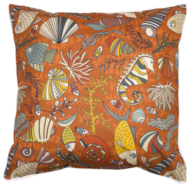 Sea Life Rust Pillow - Beach Style - Decorative Pillows - by Island Girl Home, Inc.