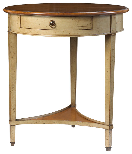 French Stamped Mango Coffee Table: French Heritage Round Table, Antique Cherry Top, Grey Base