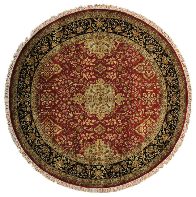 Fine Round Persian Bidjar Area Rug Hand Knotted Wool And: Kashan Revival Round Rug, 7'X7' Hand Knotted 100% Wool