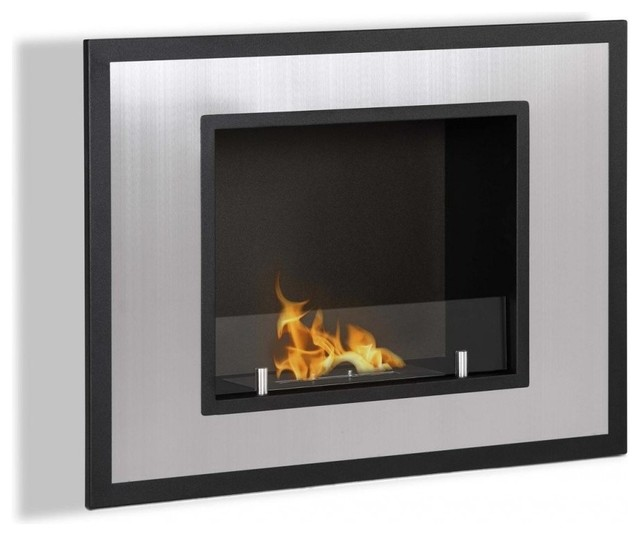 Bellezza mini wall mounted recessed ventless ethanol for Ventless modern fireplace