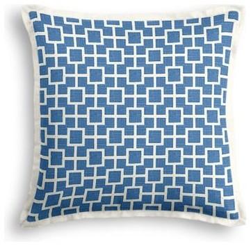 Bright Blue Square Trellis Custom Throw Pillow - Modern - Decorative Pillows - by Loom Decor
