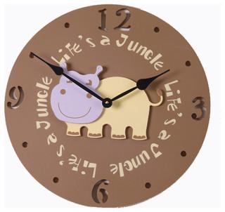 On Sale Hippo Head Wall Clock In Rustic Dark Chocolate