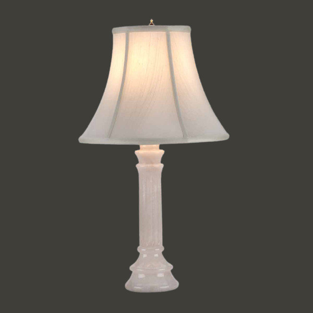 Table Lamps White Alabaster Table Lamp Beige Shade 22 H X