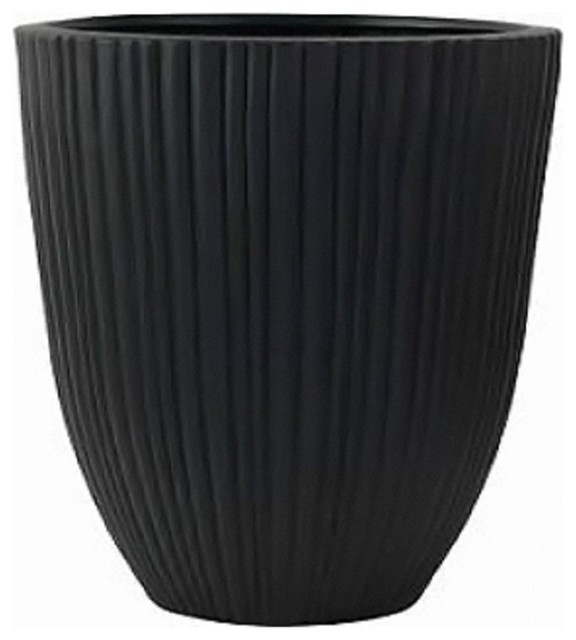 Modern Black Round Planter Pot To Use Outdoor Or Indoor