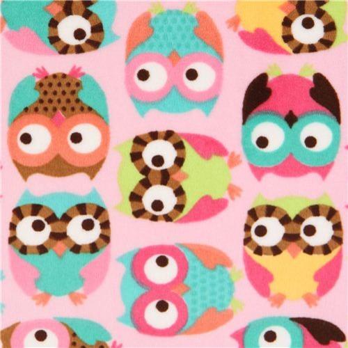 owl minky fabric pink fleece plush Timeless Treasures - Fabric