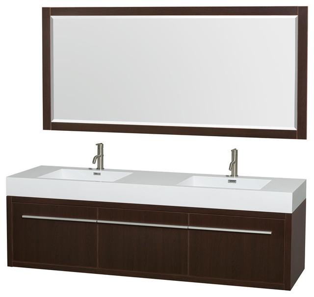 72 Double Bathroom Vanity Acrylic Resin Countertop Mirror Integrated Sink Modern