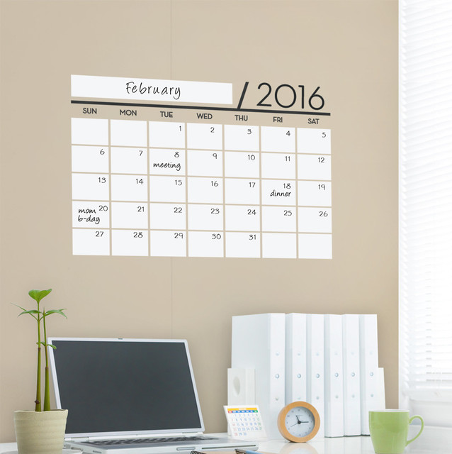 dry erase calendar 2016 wall decal contemporary wall decals
