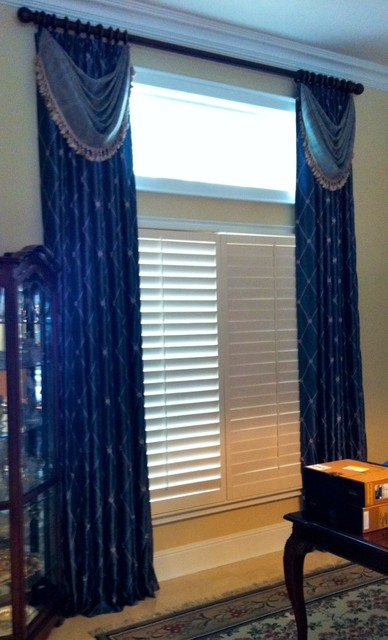 Panels With Bustle Swags Traditional Window Treatments
