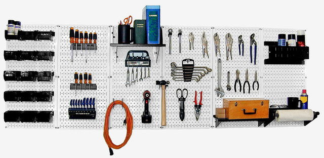 Pegboard Organizer Workbench Kit, White Toolboard and Black Pegboard Hooks - Contemporary ...