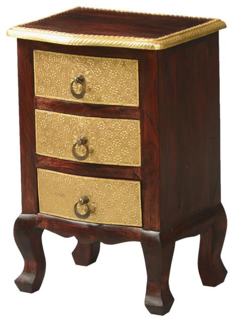 Queen Anne Mango Wood Amp Brass Nightstand Mini 3 Drawer
