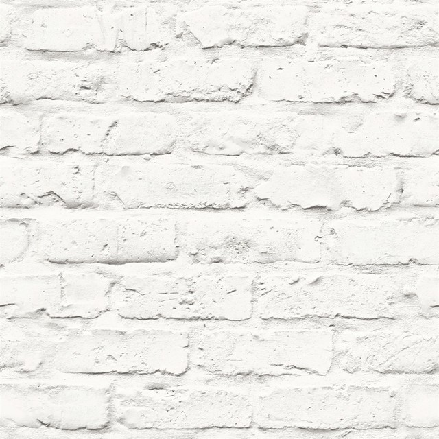 Faux brick wallpaper white double roll industrial for Wall to wall wallpaper