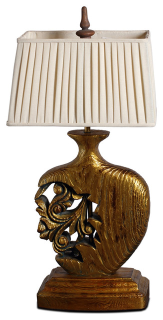 Gold finish hollow out vase handmade wooden table lamp traditional table lamps other metro - Handmade table lamp ...
