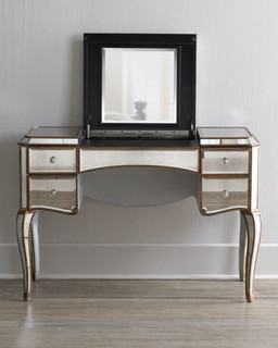 Claudia' Mirrored Vanity/Desk - Traditional - Bedroom & Makeup ...