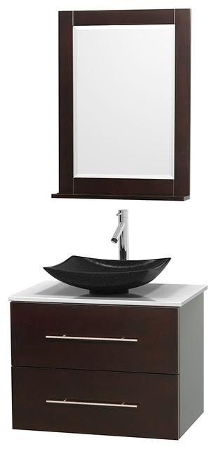 Centra 30 espresso vanity white stone top arista black - Muebles de lavabo ...