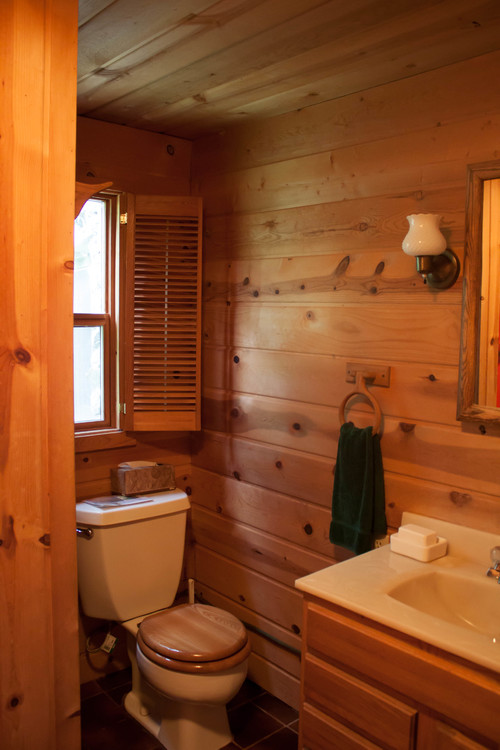 Cabin bathroom update for Small rustic bathroom designs