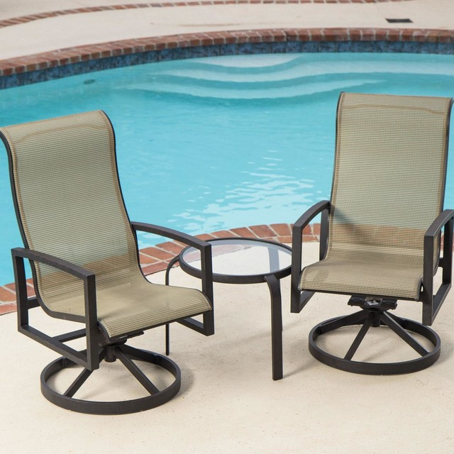 Acadia 2-Person Sling Patio Bistro Set With Glass Top