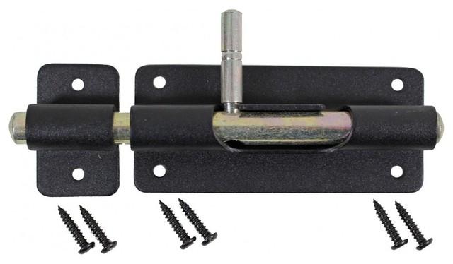 """... Pieces Door Bolt Barrel Slide Black Iron 4 3/8"""" traditional-door-locks"""