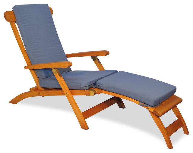 Teak Steamer Chair Chaise Lounge With Sunbrella Cushion Canvas Saphire Blue