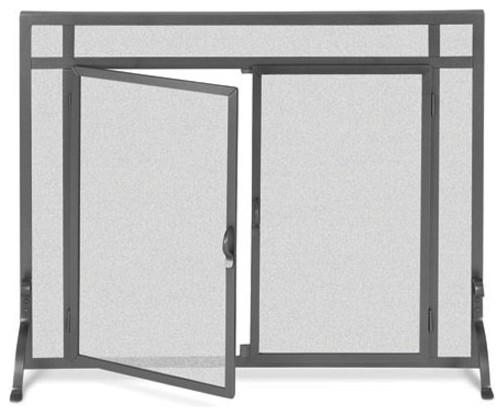 Black freestanding fireplace screen w doors 39 in width contemporary fire guards - Houzz fireplace screens ...